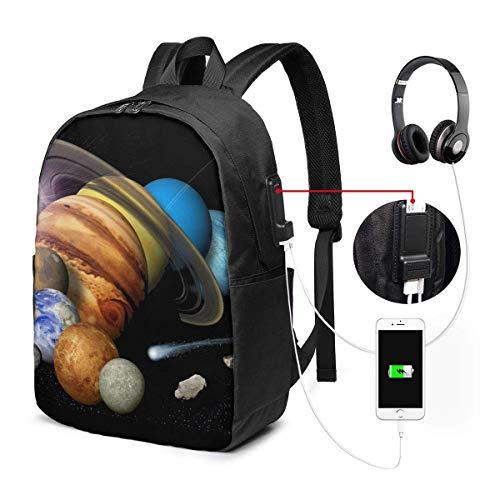 RROOT Unisex Rugzak met USB Opladen Poort Dichte Planeten Klassieke Mode Algemene Zakelijke Boekenkast