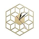 yage Reloj de Pared de Madera Hexagonal Inspirado en Cubos Reloj de Madera rústico silencioso sin tictac Reloj de Pared geométrico Minimalista Decoración de Pared Moderna
