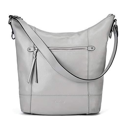 Handbags for Women Soft Genuine Leather Designer Bucket Tote Purses Ladies Shoulder Bag Gray