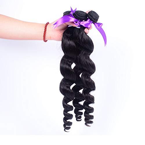 Extensions de Cheveux- 100% de Cheveux Humains de Perpian Loose Wave Bundles de Cheveux naturels, de Couleur Naturelle (Stretched Length : 24 26 26)