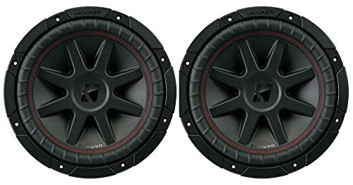 Kicker 43CVR102 CompVR 10 Inch 1400 Watts 2 Ohm Dual Voice Coil Car Audio Subwoofer with Polypropylene Cone and 360 Degree Back Bracing, Pair