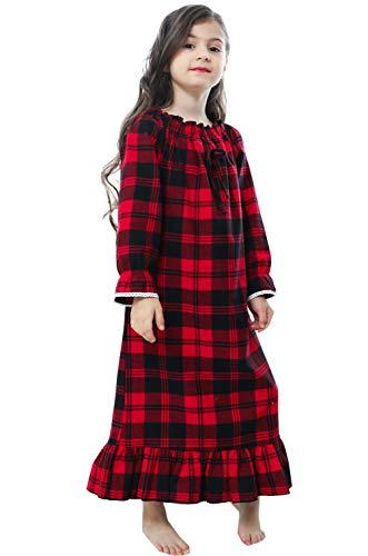PUFSUNJJ Girls Princess Nightgown,Winter Long Sleeve Flannel Nightdress Pajamas Dress Kids 3-12 Years Red