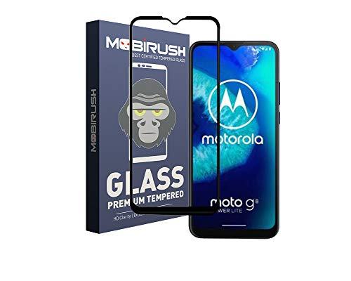 MOBIRUSH Moto G8 Power Lite Premium Anti Fingerprint Edge to Edge Full Glue Tempered Glass Screen Protector for Moto G8 Power Lite - Black