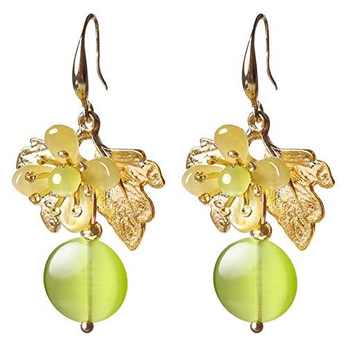 Retro Grape Green Stone Golden Leaves Earrings Flower Super Fairy National Style Ancient Earrings yangain