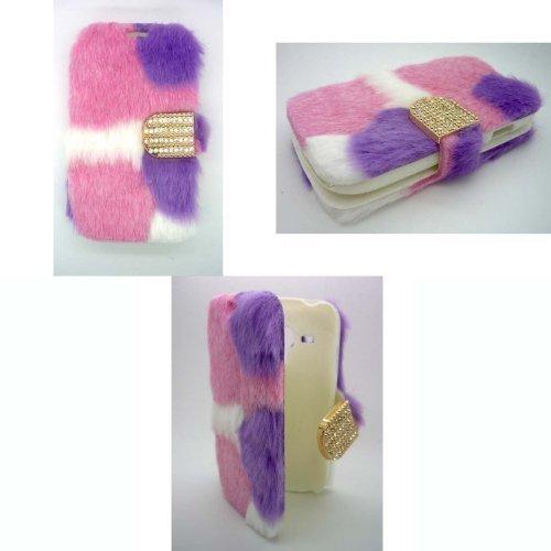 Samsung Gadget BOXX PELZARTIGE Mode lila, rosa und weiß Flipp BUCHEN-Tasche Galaxy S3 I8190 Mini