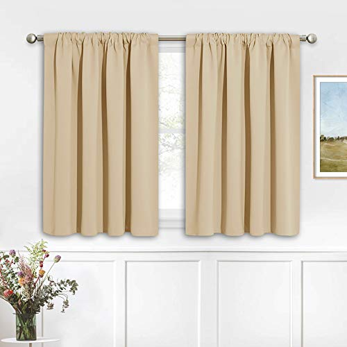 RYB HOME Thermal Insulated Curtains Blackout Small Window Curtains Light Block Privacy for Bathroom Kitchen Laundry RV Curtains, 42 inch Wide by 36 in Long, Biscotti Beige, 2 Pcs Maine