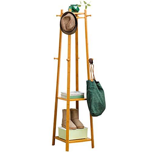 QHGao Kapstok met 8 dubbele haken en 2 niveaus met niveaus, voor de entree, voor thuis of als garderobe van massief hout