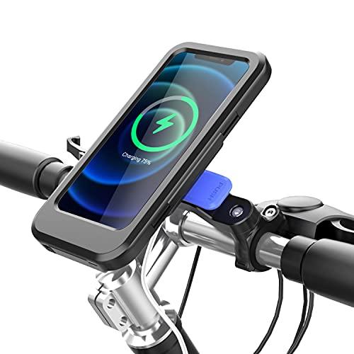 Soporte Movil Bicicleta, Soporte Motocicleta con Cargador Qi Inalámbrico 15W y USB, Soporte de Smartphone Impermeable Universal con Pantalla Táctil y Face ID, Rotación 360°, para 4.5-6.5' Smartphones