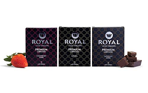 Royal Condoms Variety Pack - Natural, Strawberry, Chocolate, Ultra Thin, Organic, Gluten Free, Cruelty Free, Vegan, Nitrosamine Free, Non-Toxic Latex Covered in Odor Free Water Based Lube, 36 Count