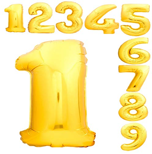 40 Inch Number Balloons Gold Foil Huge Size Helium Mylar Numbers Balloon for Birthday Party & Graduation Ceremonies with 0-9 Numbers (Golden, Number 1)