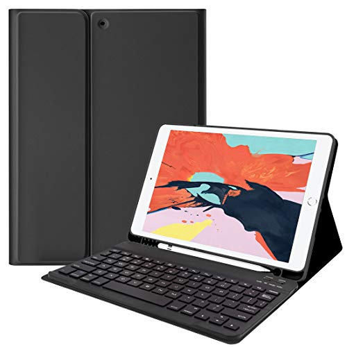 Lively Life Tastiera Bluetooth per iPad 10.2 8th 2020/7th Generation 2019, iPad Air 3 2019, iPad Pro 10.5 2017, con custodia protettiva, Tastiera wireless rimovibile - Nero