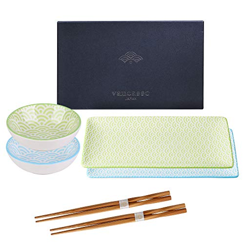 vancasso Sushi - Set Sushi Giapponese Natsuki, 6 Pezzi, Servizio da Sushi colorato, per 2 Persone, Include Piatto per Sushi, ciotoline per Salse e Bacchette, Colore: Blu, Verde