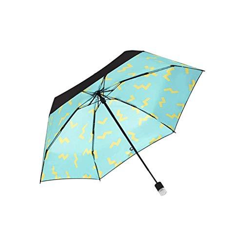 ZHENAO Paraguas Paraguas Protector Solar Ultraligero Portátil Adulto Mujer Cinco Pliegue Paraguas Paraguas Sol Fácil de cargar/B