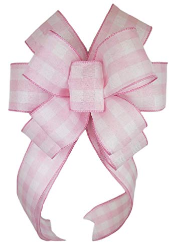 Pink White Buffalo Check Plaid Bow for Wreath 10 x 18 inches