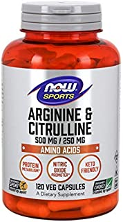 NOW Foods Arginine 500mg with Citrulline 250 mg-120 Capsules