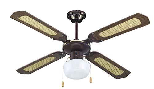 AVANT Ventilador de Techo Ventilador de Techo con luz| 3 Velocidades| Medida 107Cm | Ventilador de Techo Incluye 5 Aspas de Fibra+3 Lámpara+2 Cadenas para Control de Velocidad y luz|Potencia 60W.