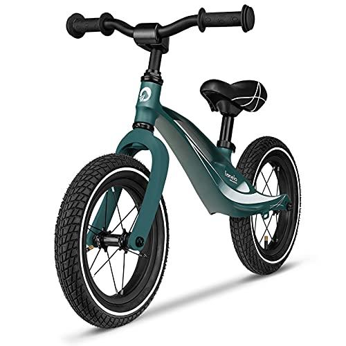 Lionelo Bart Laufrad ab 2 Jahre bis zu 30 kg Magnesiumrahmen 12 Zoll Räder Lenkrad und Sattel höhenverstellbar Lenkradschloss Fußstütze Tragegriff Ultraleicht (Forest Green)