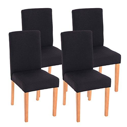 Mendler 4X Esszimmerstuhl Stuhl Küchenstuhl Littau ~ Textil, schwarz, helle Beine