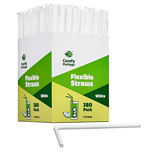 [380 Pack] Individually Wrapped Disposable Plastic Flexible Drinking Straws - BPA Free - White