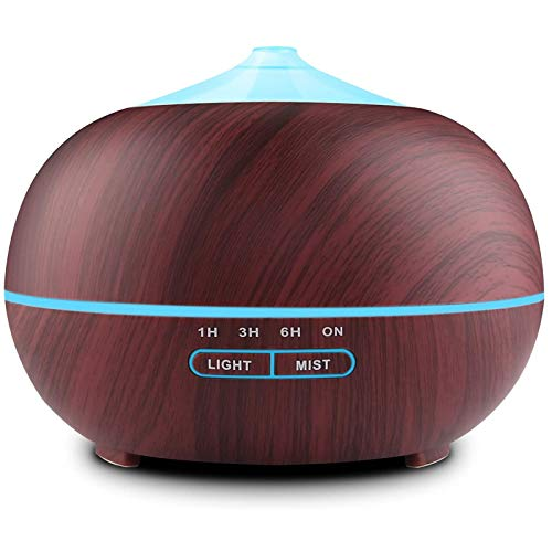 Humidificador Ultrasónico 400ml, Difusor de Aromaterapia, Difusor de Aceites Esenciales, purificador de aire con LED de 7 colores de para luminoterapia en el Hogar, Oficina, Spa, Bebé
