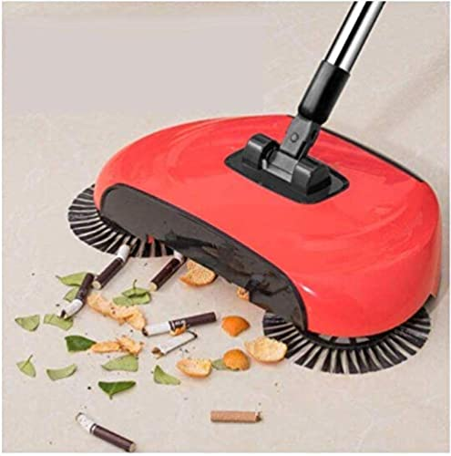SHOPP nylon Sweep Drag All in One Household Hand Push Rotating Sweeping Broom Room and Office Floor Sweeper Cleaner Dust Mop Set Standard Multicolour