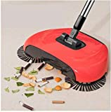 SWEET VILLA ® Stainless Steel Handle Drag All-In-One Household Hand Push Rotating Floor Dust Sweeping Broom Mop Set (Multicolour)