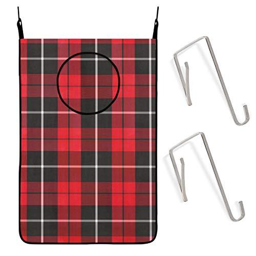 Zhark Wäschesammler zum Aufhängen, 50,8 x 76,2 cm, Weihnachtsmotiv, Rot / Schwarz / Weiß, traditioneller Schmutzwäsche-Aufbewahrungskorb mit Türwandhaken