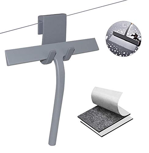U&X – Limpiacristales de silicona para ducha con colgador de pared y núcleo de acero inoxidable, cinta adhesiva de doble cara, sin agujeros, para cuarto de baño, limpiacristales