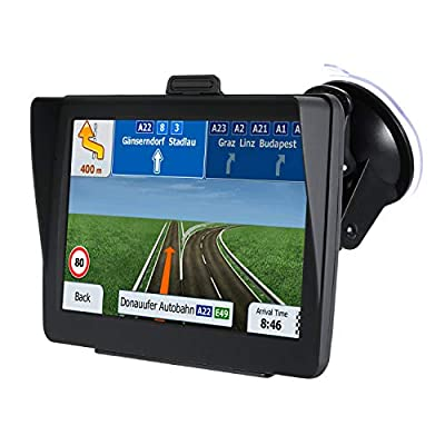 GPS Navigation for Car Trucks Speed Camera Warning Voice Guidance 7 inch Sunshade GPS Navigation for Lorry HGV Caravan,Lifetime Map Updates