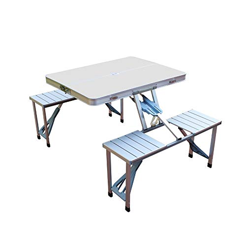 BUYT Picnic Tables Outdoor Folding Table and Chair Set Car Portable Aluminum Alloy One-Piece Picnic Barbecue Table with Umbrella Hole