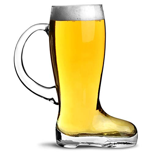 bar@drinkstuff Bicchiere da birra a forma di stivale gigante, con impugnatura Capacità 1 Litro (1,75 pinta), in vetro ultra resistente