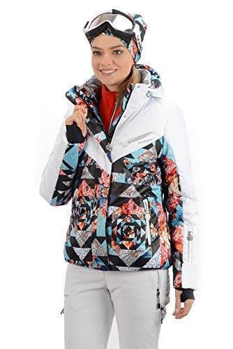 Stayer ski-jack voor dames, winterjas, thermo-jack, wit, bont, patroon, subtiel, elegant, warm