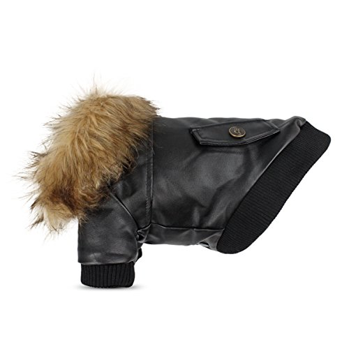 Namsan Dog Winter Jacket - Leather Motorcycle Dog Jacket Puppy Coat Waterproof Cat Coat for Small Dogs, Black S