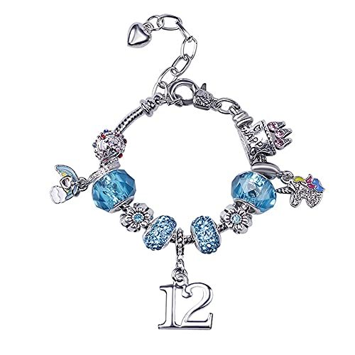 Regalos de cumpleaños para mujeres y niñas, pulseras expandibles con dijes de cristal azul regalo de 12 cumpleaños para amigos, hija, regalo de joyería para niñas