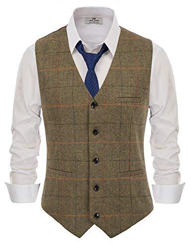 PaulJones Business 2-Pockets Asymmetrial Hem Tweed Anzug Weste Größe XL