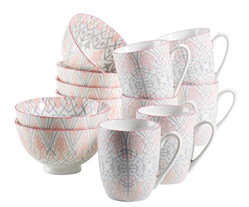 Mäser, Serie Nantes, Frühstücksset 12-teilig, Grau und Rosa Porzellan Geschirr Set, Müslischale und Kaffeebecher für 6 Personen