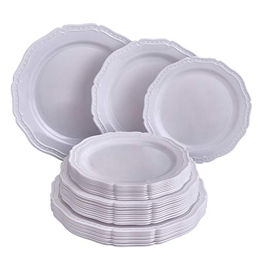 Silver Spoons WHITE DINNERWARE 30 PC Dish Set | French CountrySide, 10 Servings