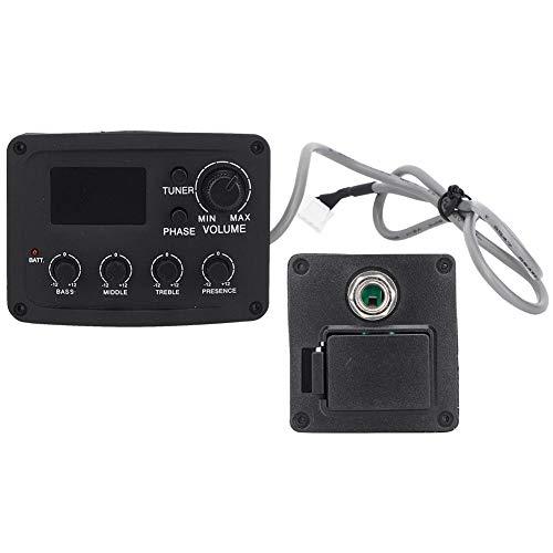 Pastilla de guitarra acústica Ecualizador de ecualizador de preamplificador de 4 bandas Sistema de pastilla piezoeléctrica con pantalla LCD para accesorio de guitarra acústica