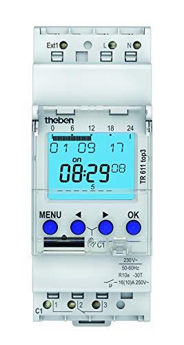 Theben 6110130 TR 611 top3 - digitale 1-Kanal Zeitschaltuhr mit externem Eingang und App-Programmierung, perfekt für LEDs, Zeitschalter