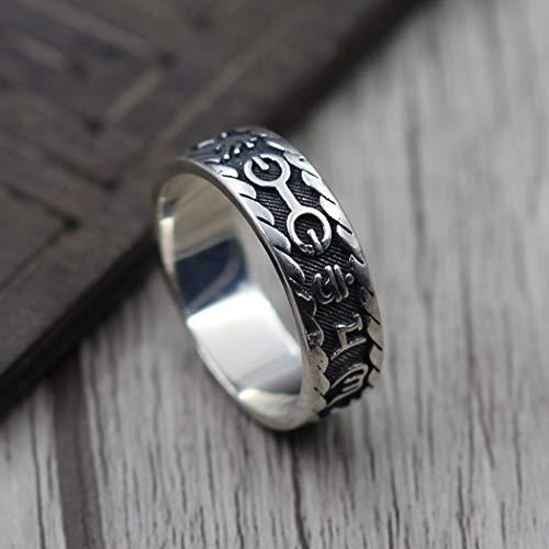 YOYOYAYA Ring S 925 Sterling Silber Schmuck Sechs Zeichen Wahrheit Diamant Mörser Retro Classic Partei Frau Paar Delikatesse Fashion Einfachheit Geburtstag Gedenken Geschenk, Nummer 19.