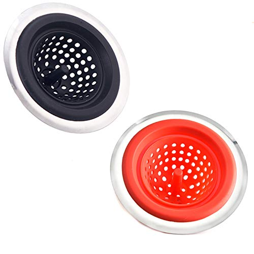 2 STKS Keukengootsteen Strainer Basket Badkamer Stopper Afvoer Filter Klomp Silicone en Roestvrij Staal Rood+Zwart