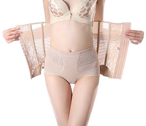 COMVIP Ceinture Serre Taille Femme Sculptante Body Gainante Ventre Plat Fitness Amincissant Abricot 76-83cm