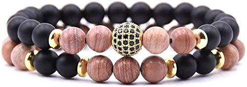 Pulsera de piedra para mujer, 7 chakras, cuentas de piedra natural, brazalete de rodocrosita, pulsera elástica de la suerte, circonita, bola dorada, joyería para damas, regalo de pareja de Navidad