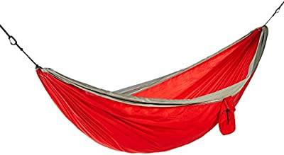 AmazonBasics Lightweight Extra-Strong Nylon Double Camping Hammock-Red/Grey