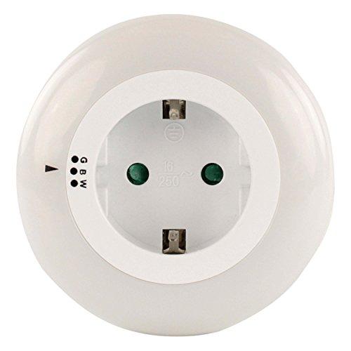HyCell Orbit 3 LED-Nachtlicht mit Dämmerungssensor & Farbwahl (weiß, grün, blau) - Steckdose Orientierungslicht für Kinder Baby Senioren -Nachtlampe für Kinderzimmer & Schlafzimmer