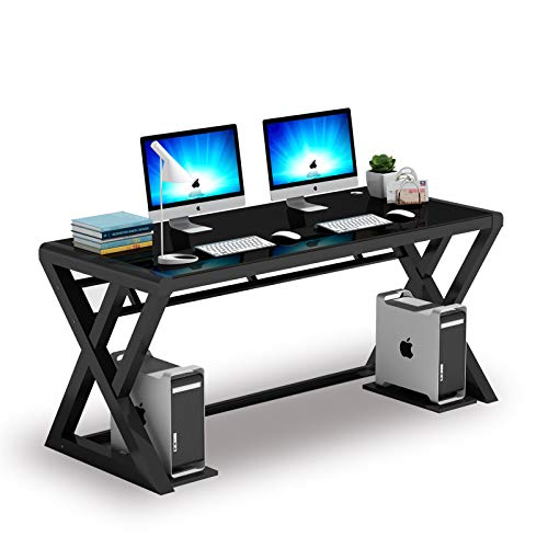 IPKIG Computer Desk Metal Frame and Glass Top, Office Desk Computer Table Modern Office Study Gaming Work Writing Desk Table for Home Office Workstation, Black (Z-Shape-55.1 Inch)