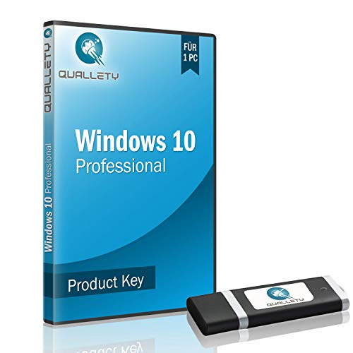 QUALLETY - Windows 10 Professional 64 bit / 32 Bit Betriebssystem Vollversion auf boot USB Stick - inkl. Windows 10 Pro Key, Anleitung und WhatsApp Support - deutscher Product Key