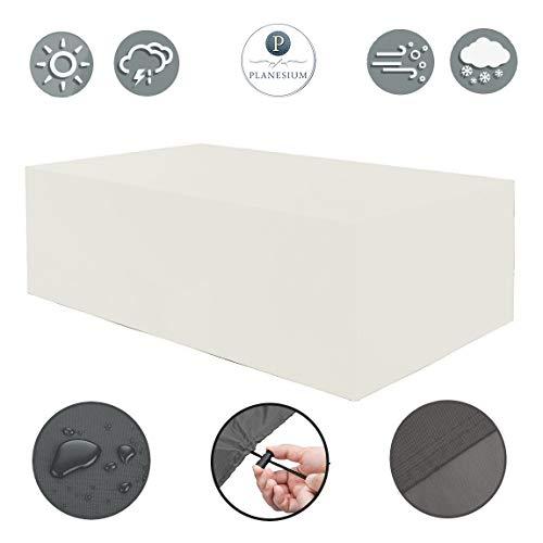 Planesium Housse de protection de qualité supérieure pour meubles de jardin - Housse de protection imperméable et respirante - Indéchirable - 575 g/m - 270 cm x 95 cm x 75 cm - Blanc