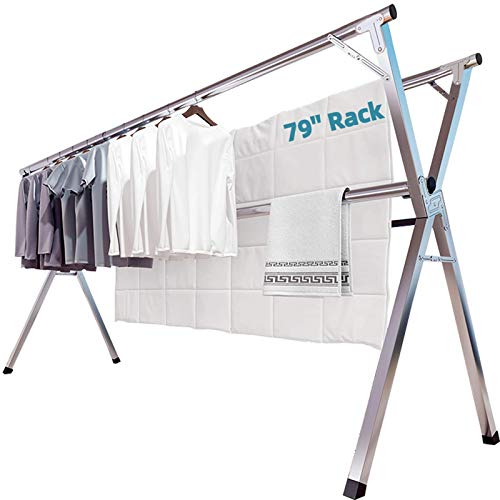 JAUREE Clothes Drying Rack, 2M/79 Inches Stainless Steel Garment Rack...