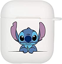 Stitch Airpods Case, Flexible Silicone Cover for Airpods 2&1, Shockproof Protective TPU Airpod Cases with Keychain Compatiable Wireless Charging